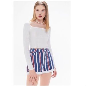 UO BDG Denim High-Waisted Mom Stripe Shorts
